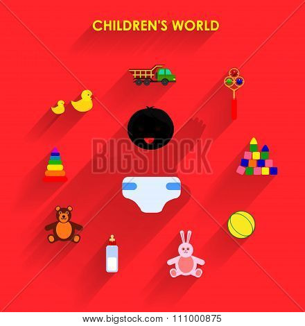 Funny little baby with toys flat icons.