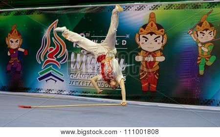 JAKARTA, INDONESIA - NOVEMBER 15, 2015: Juliette Vauchez of France performs the movements in the women's Qiangshu event at the 13th World Wushu Championship 2015 held in Istora Senayan, Jakarta.