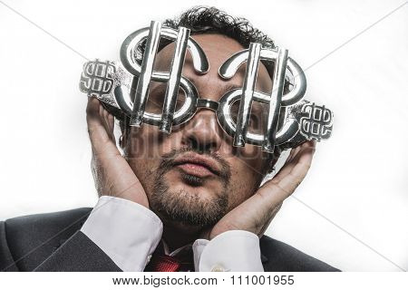 job, businessman with funny face and glasses-shaped silver dollar