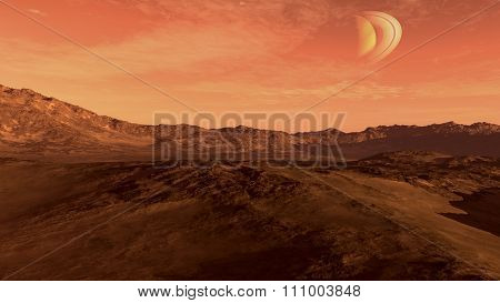 Red planet with Saturn-like moon