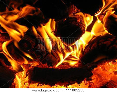 Firewood Burning Tongues Of Flame
