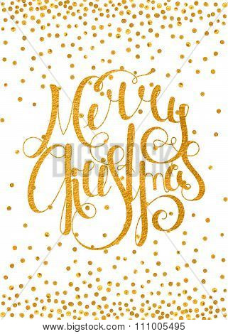 Gold calligraphic inscription Merry Christmas.