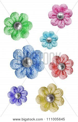 Knitted Flowers Isolated
