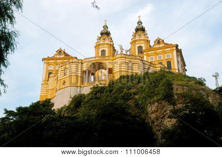 A Glimpse Of The Ancient And Imposing Monastery Of Melk On The Danube In Austria