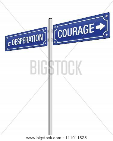 Courage Desperation Street Sign