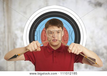 Aggressive man breaks down arrow