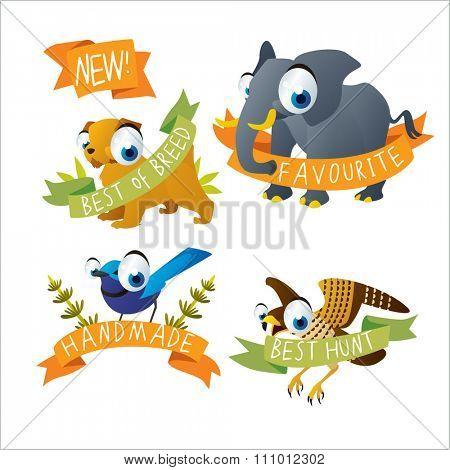 funny animals tattoo stickers. Elephant, dog, bird, falcon. May be used as stickers, badges, logos or emblems