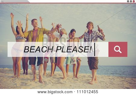 Beach Please Summer Holiday Leisure Travel Vacation Concept