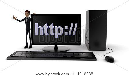3D Man Standing Aside Pc With Http:// Text On Screen Concept
