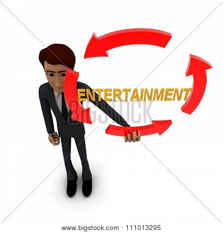 3D Man Holding Four Arrows  In Circular Shape And Entertainment Text Inside It Concept