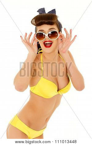 Woman In Bikini With Sunglasses.