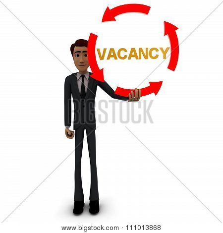 3D Man Holding Four Arrows  In Circular Shape And Vacancy Text Inside It Concept