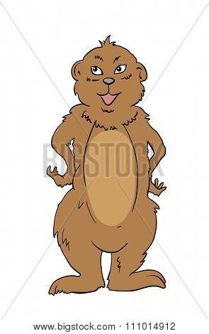 Cartoon Illustration of Marmot Animal