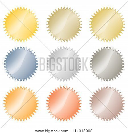 Blank Glossy Vector Stickers In Gold, Red Gold, Platinum, Silver, Bronze, Copper, Aluminum. Which Ca