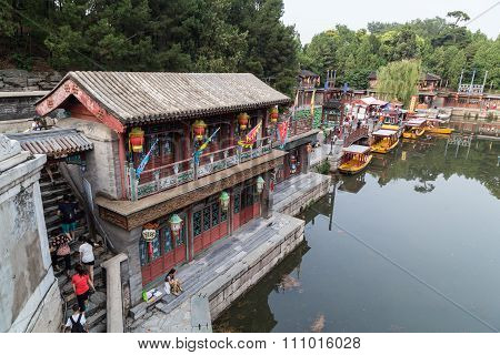 Beijing, China - Circa September 2015: Historical Town On Suzhou River In Summer Palace,  Beijing
