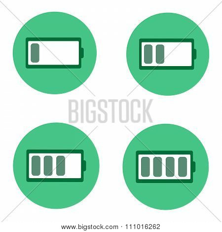Four Green Battery Icon.
