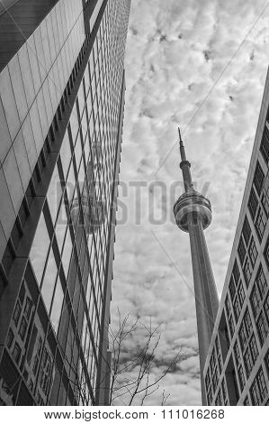 The CN Tower reflected in a skyscraper. Toronto, Canada