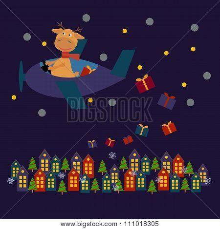 Christmas Card With Deer Santa Claus