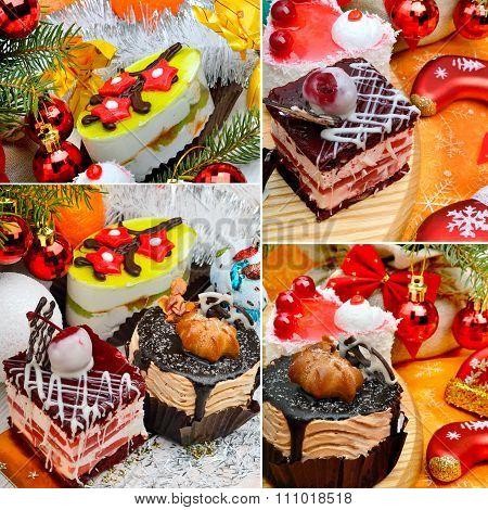 Christmas Delicious Cake On Christmas Background, Christmas Balls, Tangerines, Pine Twig.