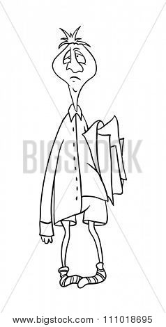 clerk with a folder of papers, contour illustration