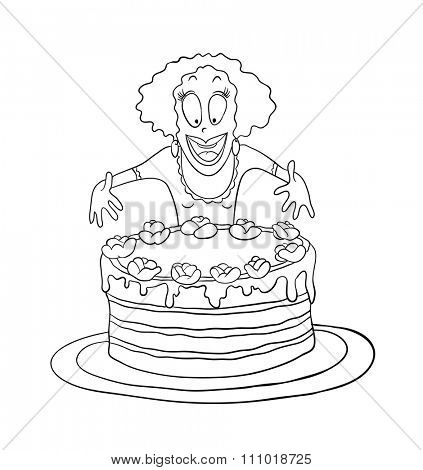 Woman and big cake, contour illustration