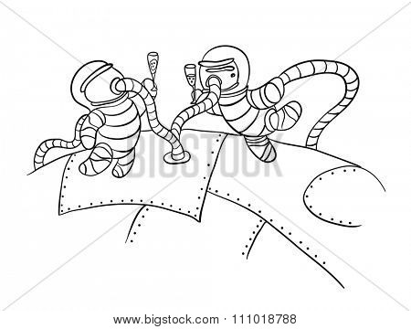 astronauts in outer space, illustration