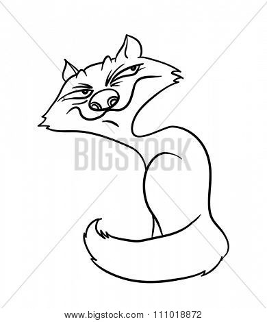 sly fox, contour illustration