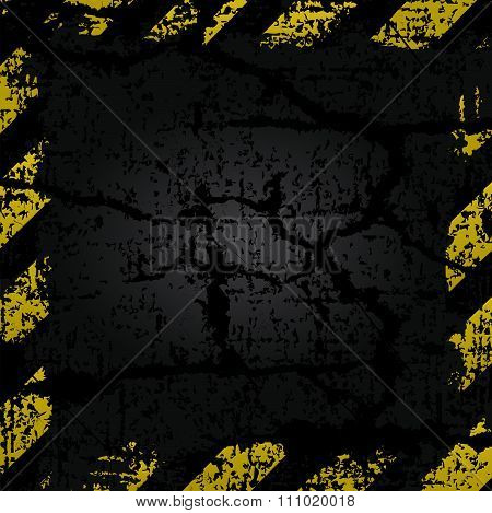 Vector Old Shabby Frame With Yellow And Black Stripes Danger Warning On A Background Of Old Cracked