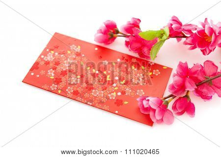 Chinese new year festival decorations, ang pow or red packet and plum blossom isolated on white background.