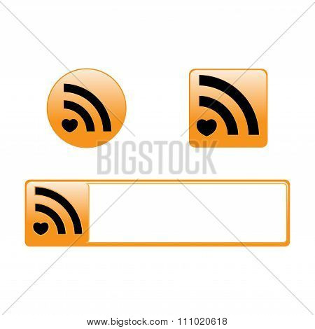 Vector Rss Round Square And Rectangular Icons With Heart