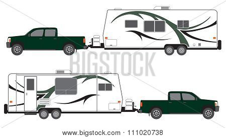 Pickup and Camp Trailer