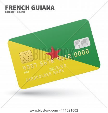 Credit card with French Guiana flag background for bank, presentations and business. Isolated on whi