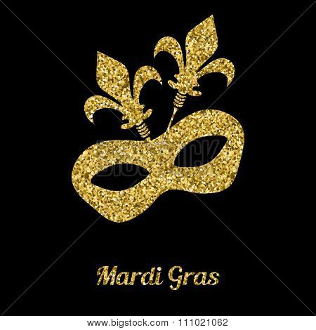 Mardi Gras mask from gold glitter. Venetian carnival mask. Vector illustration