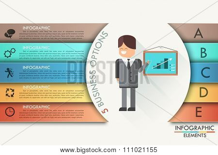 Modern infographics options banner with realistic arrow. Vector. Can be used for web design and  wor