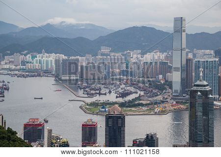 Hong Kong, Sar China - Circa July 2015: Panorama Of Hong Kong, Kowloon And Victoria Harbour, Hong  K