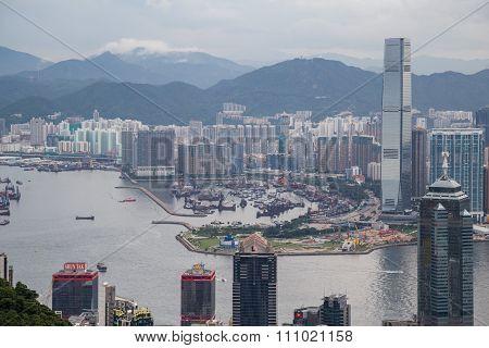 Hong Kong, Sar China - Circa July 2015: Panorama Of Hong Kong, Kowloon And Victoria Harbour, Hong  K