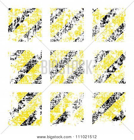 Nine Vector Old Worn, Tattered, Scratch Squares Of Yellow Black Stripes