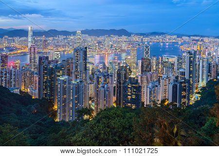 Hong Kong, Sar China - Circa July 2015: Skyline Of Hong Kong From Victoria Peak At  Evening