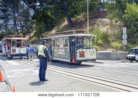 San-francisco-united States, July 13, 2014: Authentic San-francisco Tram Ascending Uphill With Peopl