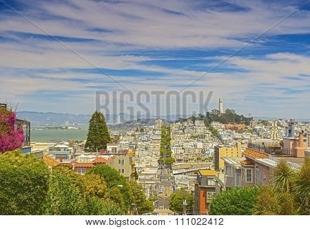 Famous Lombard Street On Hills In San-francisco In California, United States Of America