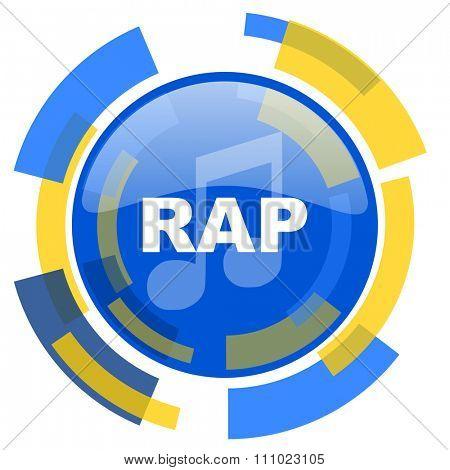 rap music blue yellow glossy web icon