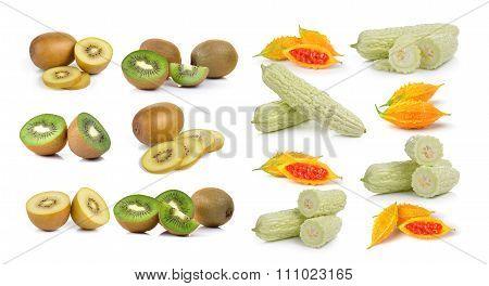 Bitter Melon Iand Kiwi Isolated On White Background