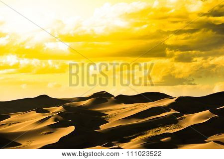 Great Sand Dunes Hot Golden Sunset