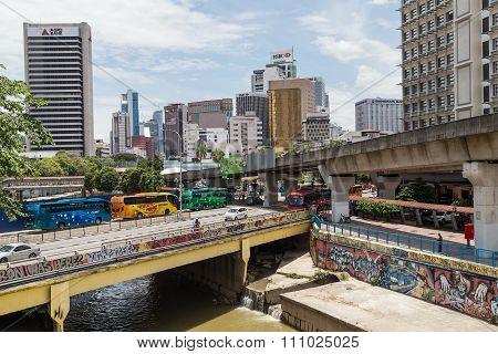 Kuala Lumpur, Malaysia - Circa September 2015: Jalan Tun Sambanthan Road And Bridge Over Sungai Kela