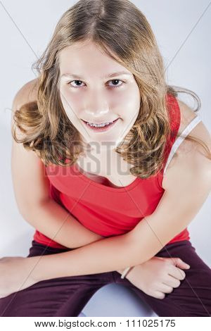 Oralcare Concepts. Portrait Of Smiling Teenager Girl With Oral Teeth Dental Correcting System.