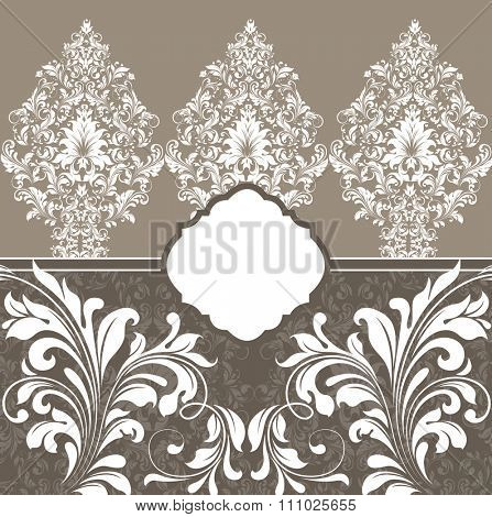 Vintage invitation card with ornate elegant retro abstract floral design, white flowers and leaves on brownish gray background. Vector illustration.