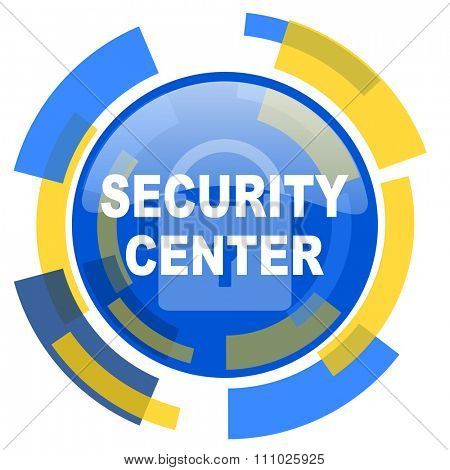security center blue yellow glossy web icon