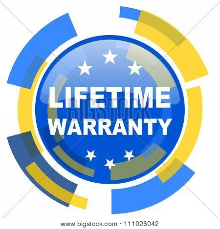 lifetime warranty blue yellow glossy web icon