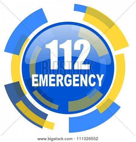 number emergency 112 blue yellow glossy web icon