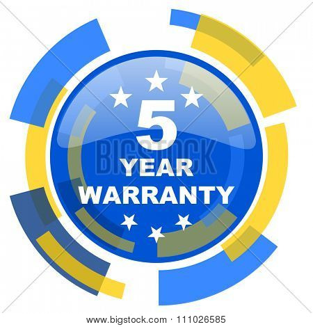 warranty guarantee 5 year blue yellow glossy web icon